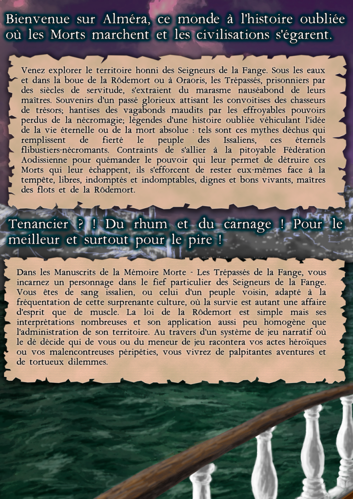 4ième de couverture du kit de découverte de Les Manuscrits de la Mémoire Morte - Les Trépassés de la Fange